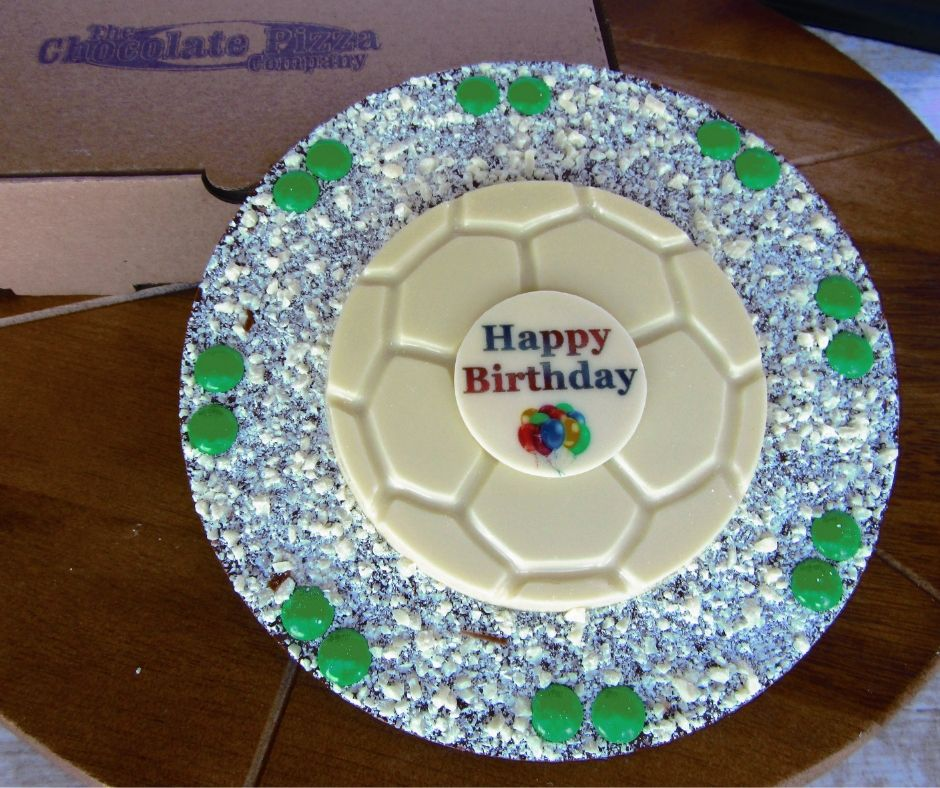 Football Birthday Chocolate Pizza made by The Chocolate Pizza Company