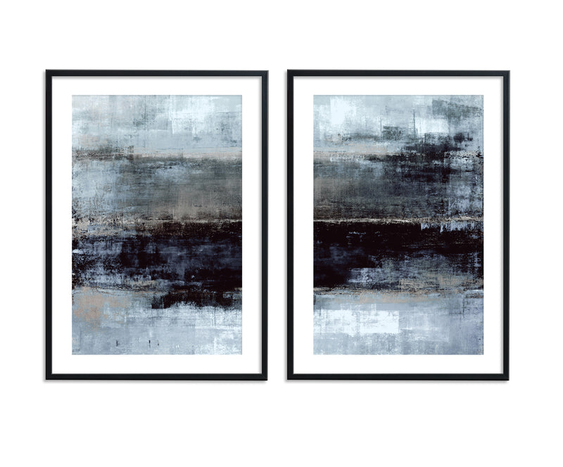 Beige Grey Black Abstract Canvas Set