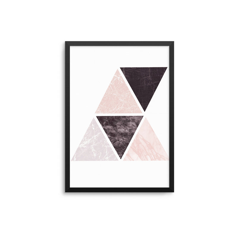 Blush Black Grey Marble Geometric