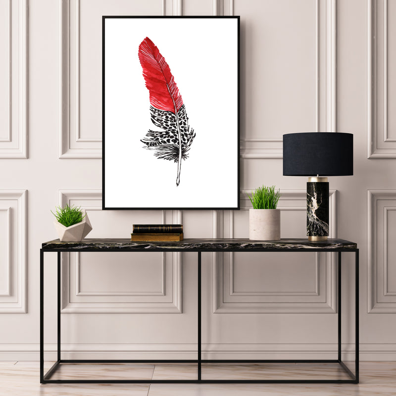 Red Black & White Feather