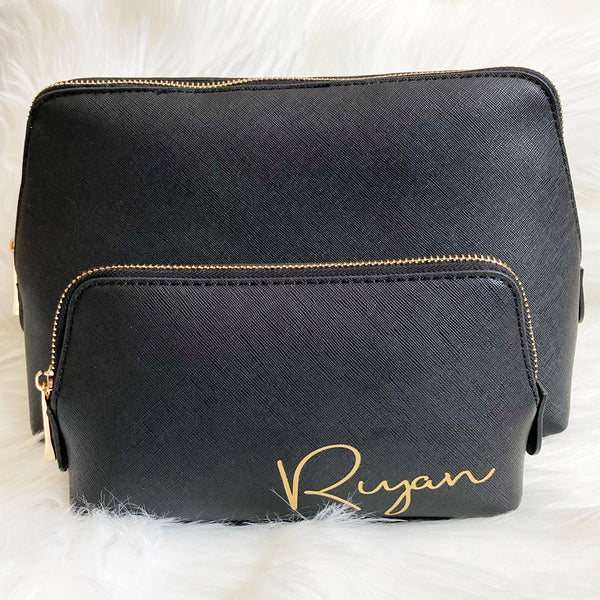 Personalised Makeup Bag - Rosefield Script Text