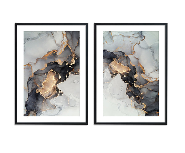 Black Gold Ink Abstract Set II