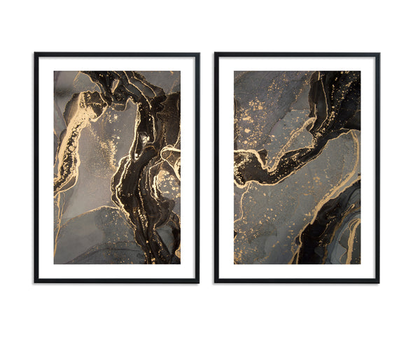 Black Gold Ink Abstract Set