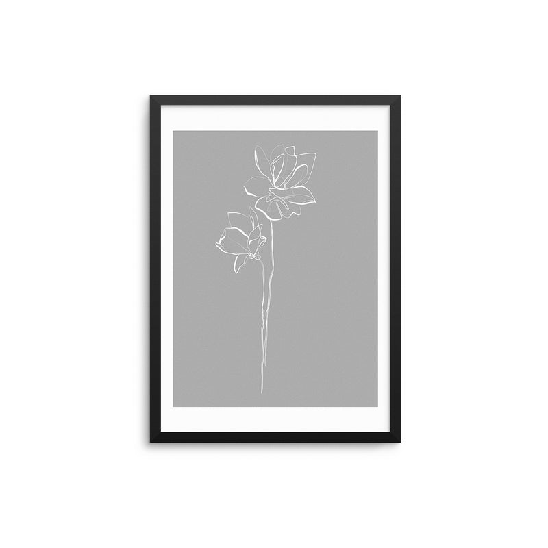 Grey Flowers Outline