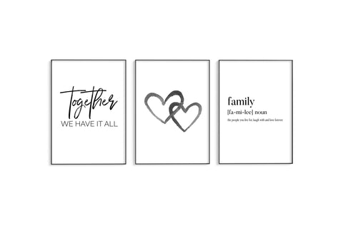 Together | Black Hearts | Family Trio Set