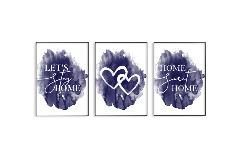 Home | Hearts | Home II Trio Set - Navy