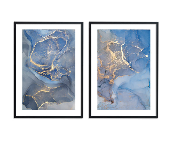 Blue & Gold Ink Abstract Set