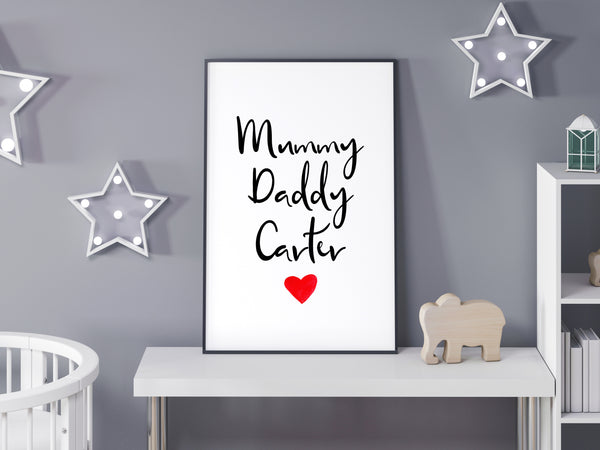 Mummy Daddy Carter (Personalised Print)