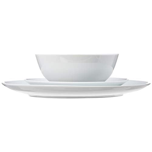18-Piece Kitchen Dinnerware Set, Service for 6, White Porcelain Coupe