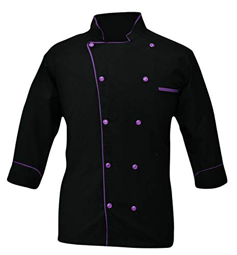 Leorenzo Creation PN-05 Men's Chef Coat (Size-L, Piping Colour Purple)