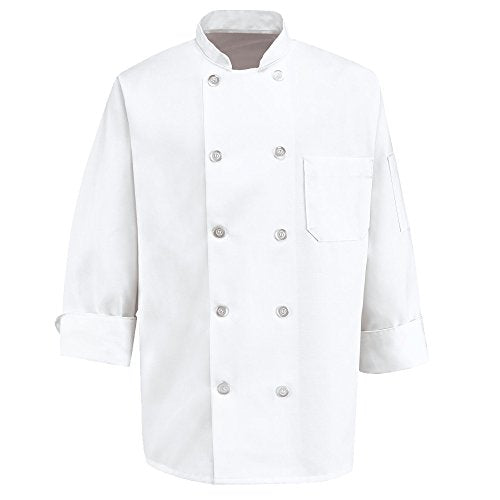 350 Chef Apparel 10 Pearl Button Chef Coat-Easy-Care Twill - White, Small