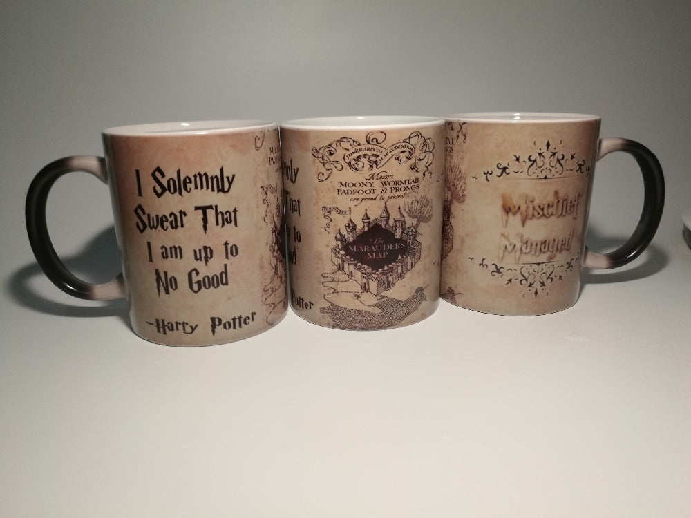 hogwarts mugs marauders map mugs coffee Tea art Heat reveal magic Mug Gryffindor Hufflepuff Ravenclaw Slytherin Mugen