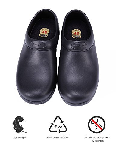 SensFoot Slip Resistant Chef Shoes Black Non Slip Kitchen Work Clogs For Women (8 B(M) US)