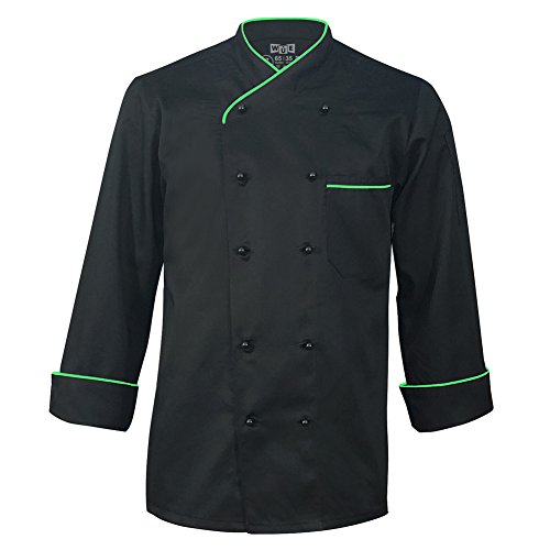 10oz Apparel Long Sleeve Black Chef Jacket with Neon Green Piping L