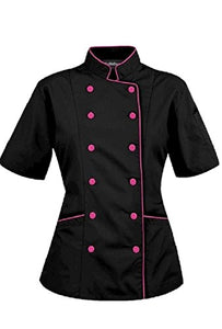 Short Sleeves Women's Ladies Chef's Coat Jackets By Chef's Apparels (S (For Bust 34-35), Black (Pink Trim))