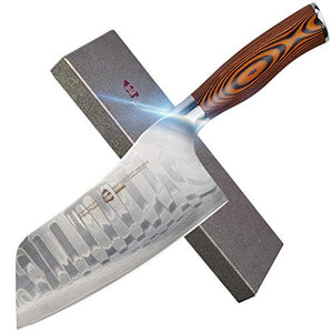 "Japanese Damascus Steel Cleaver Knife with Ergonomic Pakkawood Handle - 7"" - Fiery Phoenix Series"