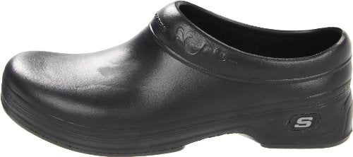 Skechers for Work Women's Clara Clog, Black, 8 B - Medium