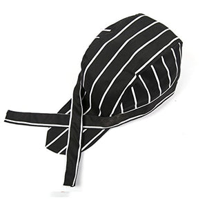 Professional Chefs Hat Fashion Cooking Head Wrap Polyester Cotton Kitchen Catering Skull Cap Ribbon Caps Turban MZ01 (Black and White Stripe)