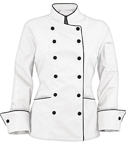 Long Sleeves stylish Women's Ladies Chef's Coat Jackets (XXL (To Fit Bust 42-43), white)