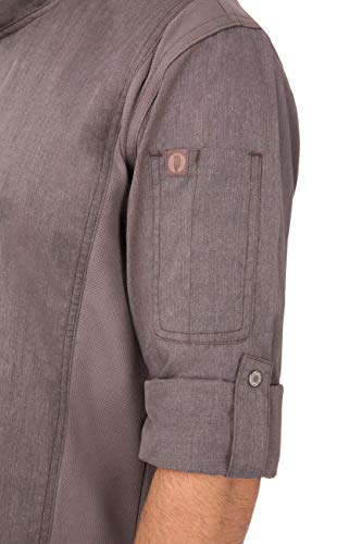 Chef Works Men's Hartford Chef Coat, Graphite Gray, L