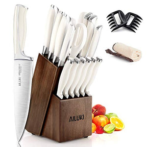 Knife Set, AILUKI 19 - Piece Kitchen Knife Set with Block Wooden and Sharpener (White)