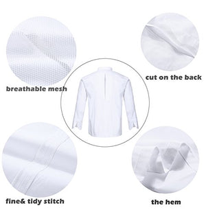 Nanxson TM Kitchen Cotton Uniform Roll-Up Sleeve Chef Working Coat With Air Mesh CFM0028 (White, L)