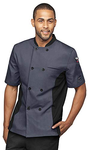 Men's Short Sleeve Chef Coat with Mesh Side Panels (S-3X, 4 Colors) (Large, Granite/Black)