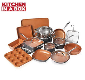 Gotham Steel Cookware + Bakeware Set with Nonstick Durable Ceramic Copper Coating, 20 Piece, Graphite