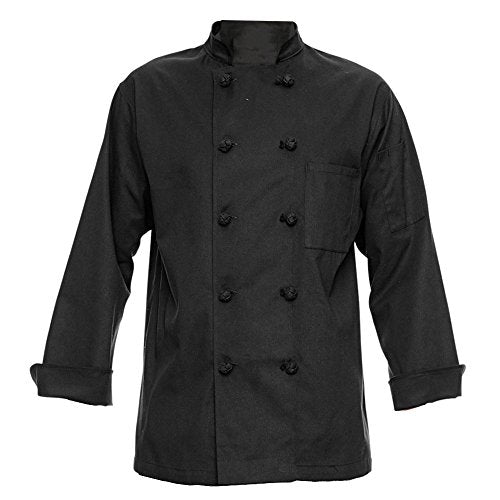 350 Chef Apparel 10 Knot Button Chef Coat-Easy-Care Twill,Black,Large