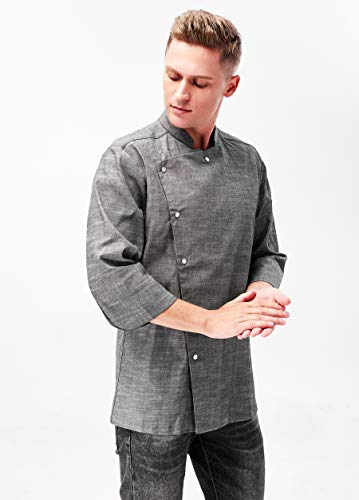 Men's Chef Coat 3/4 Sleeved Korean Cuisine, Grey