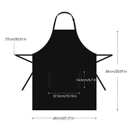 Unisex 12 Pack Bib Apron with 2 Pockets Kitchen Apron, Black