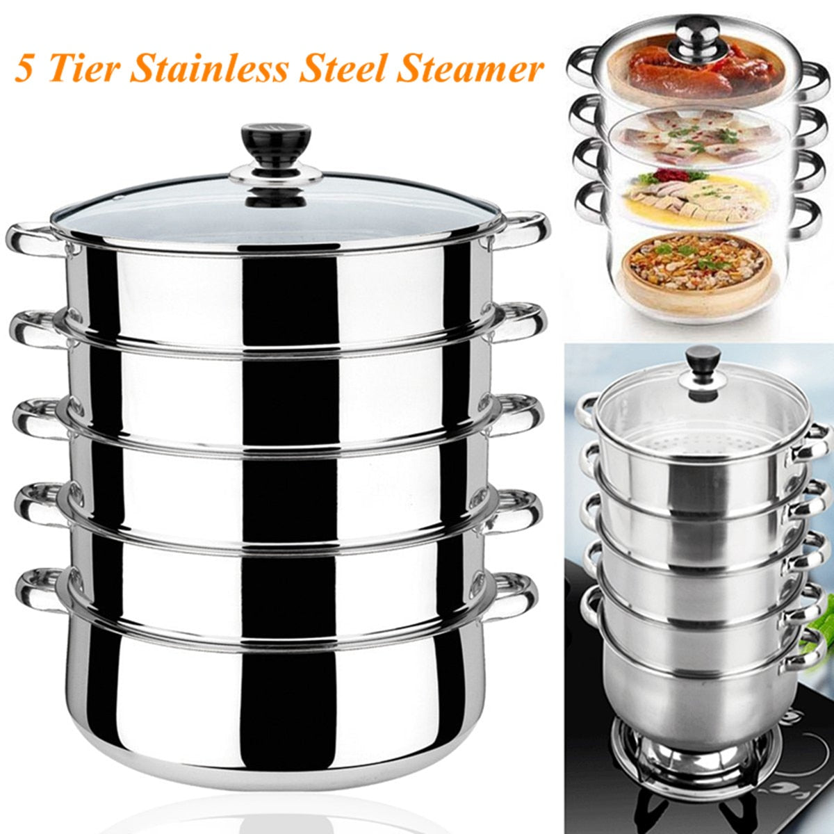 5 Tier Stainless Steel Soup Pot Thick Cooking Steamer Gas Induction Compatible Cooker Saucepan Pot Cookware Instant Pot 30cm