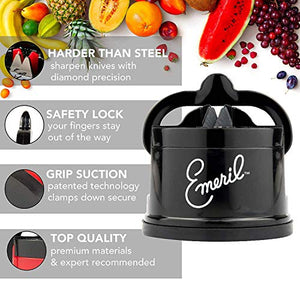 Emeril 17-Piece Knife Block Set + Tungsten Carbide Knife Sharpener with Suction Pad (Black)