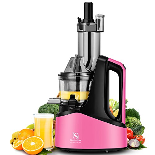 "Natalie Styx Juicer Slow Masticating Juicer Extractor, 3"" Wide Chute Anti-Oxidation Cold Press Juicer , 240W AC Motor, with Juice Jug and Brush, High Nutrient Fruit and Vegetable Juice, Pink"