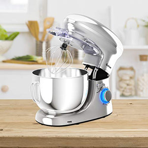 COSTWAY Stand Mixer, 660W Electric Kitchen Food Mixer with 6-Speed Control, 6.3-Quart Stainless Steel Bowl, silver
