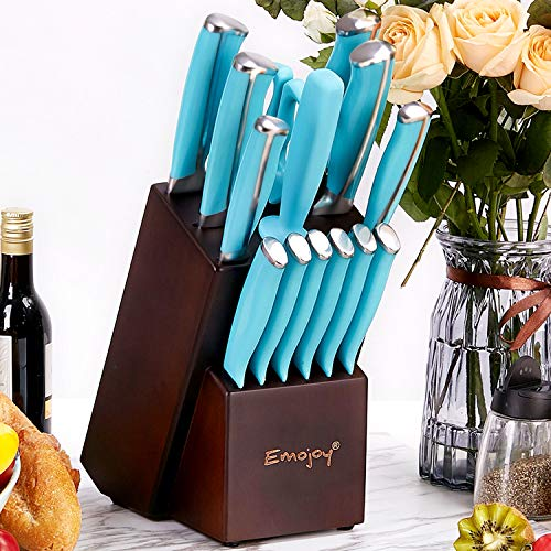 Emojoy Knife Set, 15-Piece Kitchen Knife Set with Wooden Block, Cutlery Set