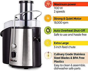 Mueller Austria Juicer Ultra 1100W Power, BPA-Free, Large, Silver