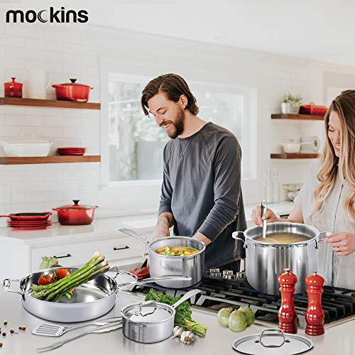 Mockins Premium Grade 10 Piece Stainless Steel Cookware Set - The 10 Piece Pots And Pans And Cooking Utensils Set Has A Tri Ply Body With A Pure Aluminum Core To Fill All Your Cooking Needs