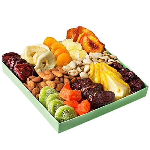 Holiday Nut Dried Fruit Gift Basket - Healthy Gourmet Food - Christmas, Mothers & Fathers Day Gifts Box - Birthday, Sympathy, Get Well Men, Women & Families Corporate Thanksgiving - Oh! Nuts