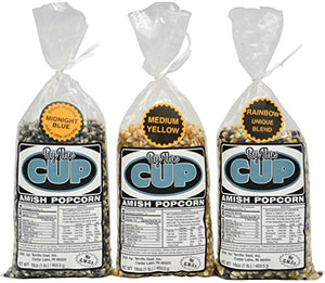 Amish Country Popcorn, By The Cup Variety, Includes: Midnight Blue (1 lb), Rainbow (1 lb), Medium Yellow (1 lb), 3 Lbs Total