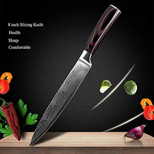 8 Piece Kitchen Chef 8 inch Kitchen Knife Set Japanese Stainless Steel Damascus Laser Pattern, 8 inch 8 pc Chef Knife Set