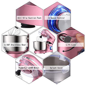 Aucma Stand Mixer,6.5-QT 660W 6-Speed Tilt-Head Food Mixer, Kitchen Electric Mixer with Dough Hook, Wire Whip & Beater (6.5QT, Pink)
