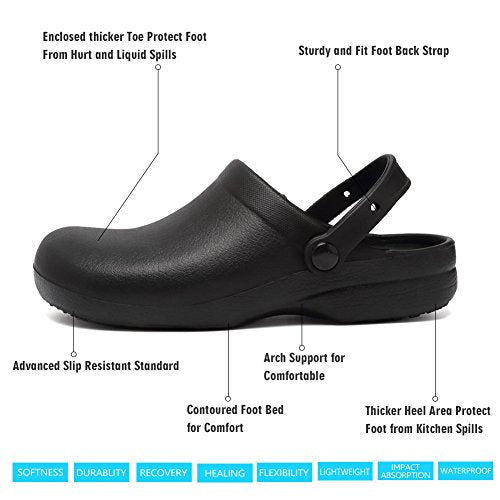 CIOR Garden Clogs Slip Resistant Nursing Clog For Men Women Rubber Chef shoes-40