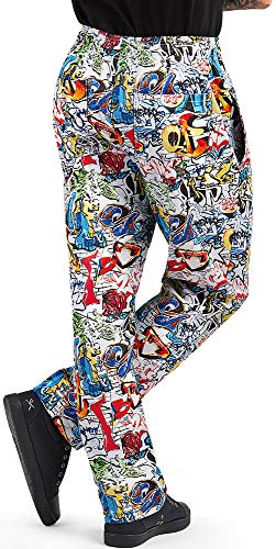 Men's Graffiti Print Baggy Chef Pant (Large)