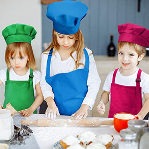 8 Piece Kids Apron and Chef Hat Set, (Color 2, Medium)