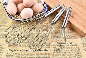 "QHTY Kitchen Multi-Purpose Balloon Tools Hand And Flour Mixer Stainless Steel 8 ""/ 10"" / 12-Inch Egg Beater"