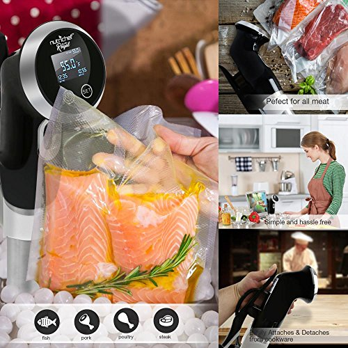 Supreme Sous Vide Thermal Immersion Circulator, Pro Gourmet Cooker, Stainless Steel Sous Vide Cooker, Slow Sous Vide Circulator, Kitchen Food - For Use W Vacuum Sealer, 120V (PKPC235BK)