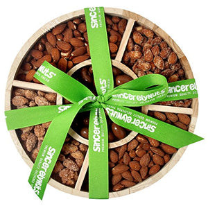 Sincerely Nuts 5-Sectional Almond Lover's Gift Set in Wooden Tray | Roasted & Salted, Smokehouse, Cinnamon, Milk Chocolate, and Roasted & Unsalted Almonds