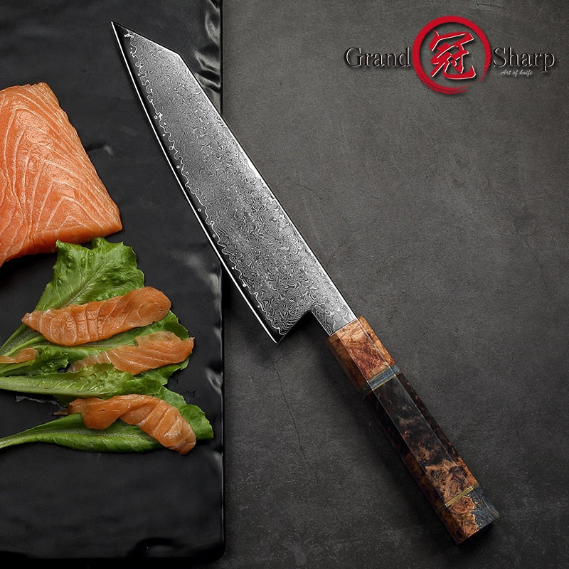 8.2 Inch Damascus Kitchen Knife Handmade Chef Knife VG10 Japanese Damascus Steel Kiritsuke Kitchen Knife Gift Box Grandsharp
