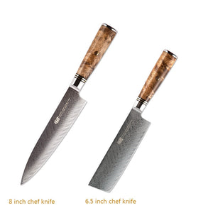 FINDKING 6 PCS knives set AUS-10 Damascus Steel Sapele Wood Handle Arrow Pattern Damascus Knife Set 67 layers Chef kitchen Knife